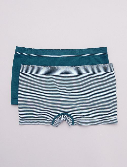 Pack de 2 culottes sin costuras 'Billet Doux'                                                                             azul/blanco