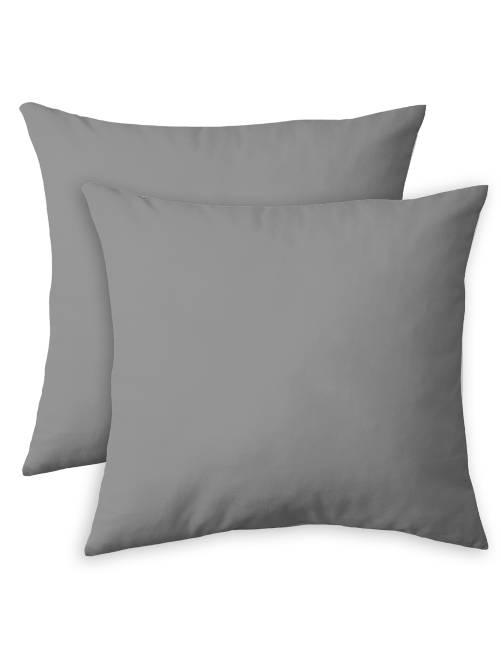 Pack de 2 fundas de almohada lisas                     gris Hogar