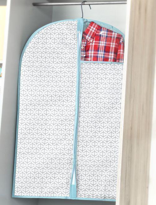 Pack de 2 fundas de tela para ropa 60 x 90 cm                                         blanco/azul