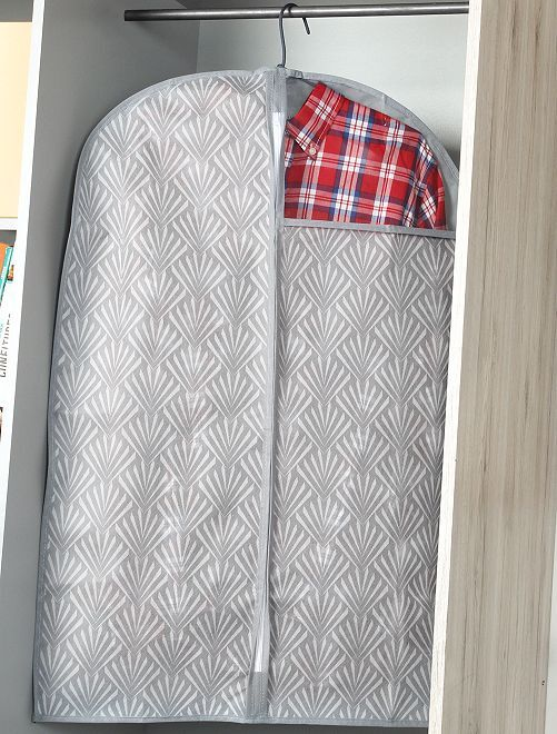 Pack de 2 fundas de tela para ropa 60 x 90 cm                                         blanco/gris