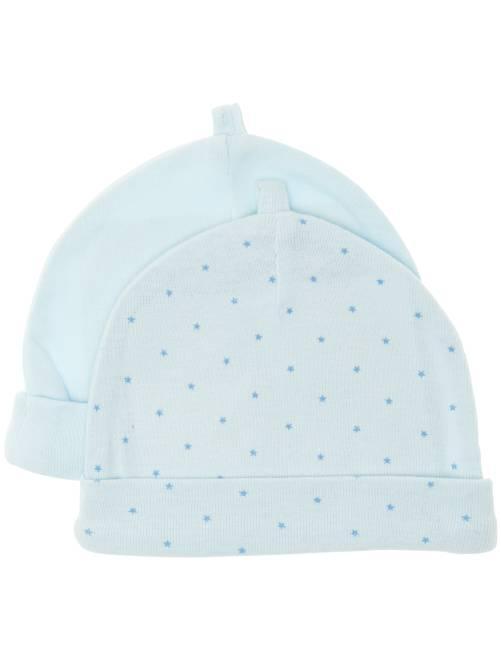 Pack de 2 gorros de algodón orgánico                                                                             azul Bebé niño