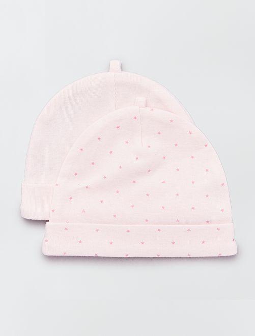 Pack de 2 gorros de algodón orgánico                                                                 rosa Bebé niña