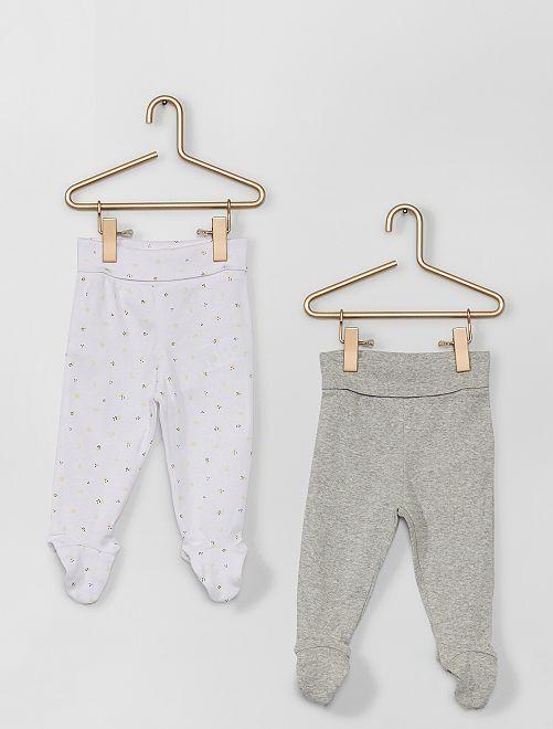 Pack de 2 leggings con pies eco-concepción                                                                 BLANCO