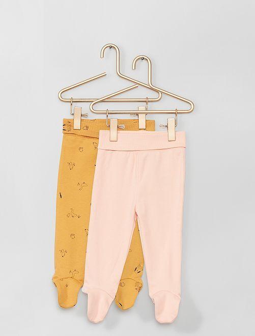 Pack de 2 leggings con pies eco-concepción                                                                 NARANJA
