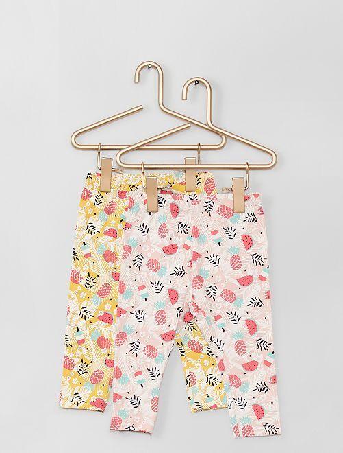 Pack de 2 leggings estampados 'fruta'                             ROSA/amarillo