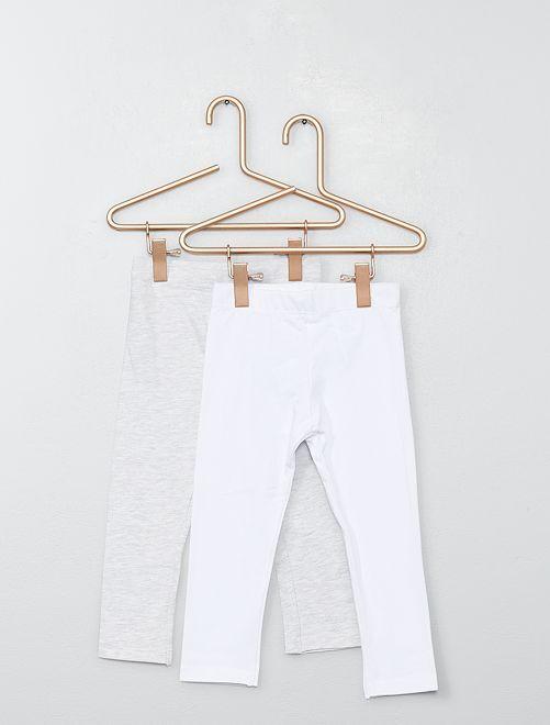 Pack de 2 leggings lisos                                                                 blanco/gris