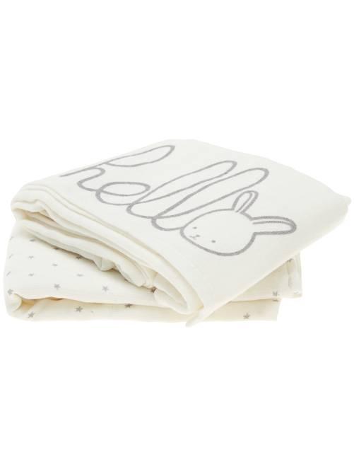 Pack de 2 mantas de algodón orgánico puro                                                     BLANCO Bebé niño