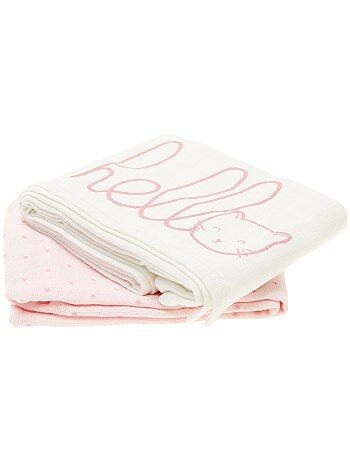 Niña 0-36 meses - Pack de 2 mantas de algodón orgánico puro - Kiabi