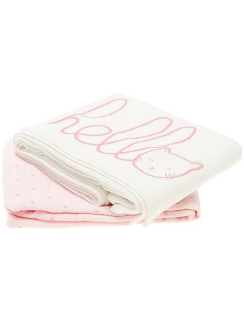 Pack de 2 mantas de algodón orgánico puro                                                     rosa