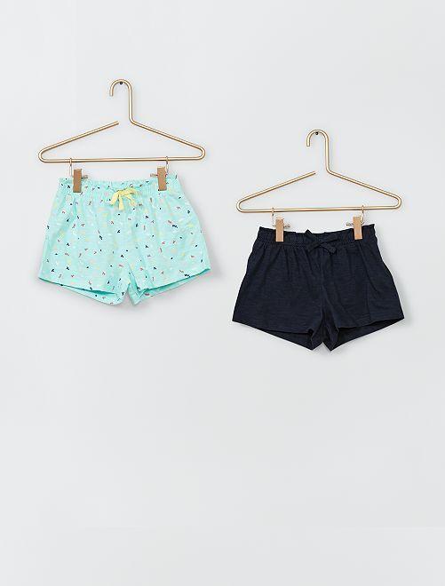 Pack de 2 pantalones cortos 100 % algodón                             AZUL