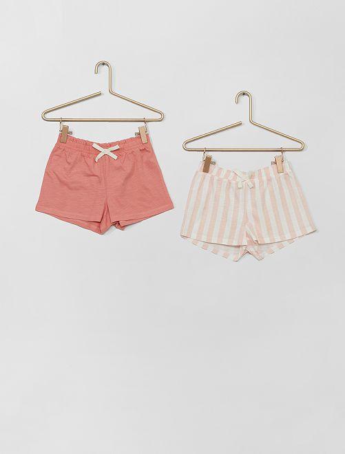 Pack de 2 pantalones cortos                                                                                         ROSA