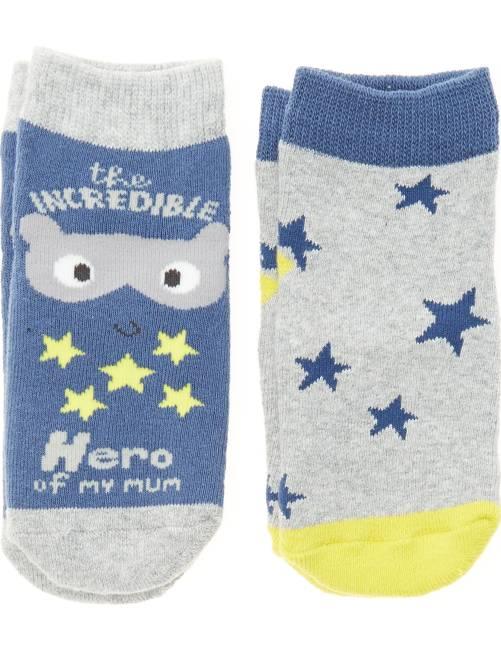 Pack de 2 pares de calcetines antideslizantes                                         AZUL Bebé niño