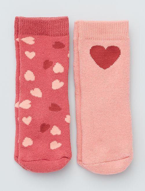 Pack de 2 pares de calcetines antideslizantes                                                                                                                 corazones