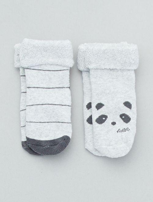 Pack de 2 pares de calcetines antideslizantes                                                                 gris Bebé niña