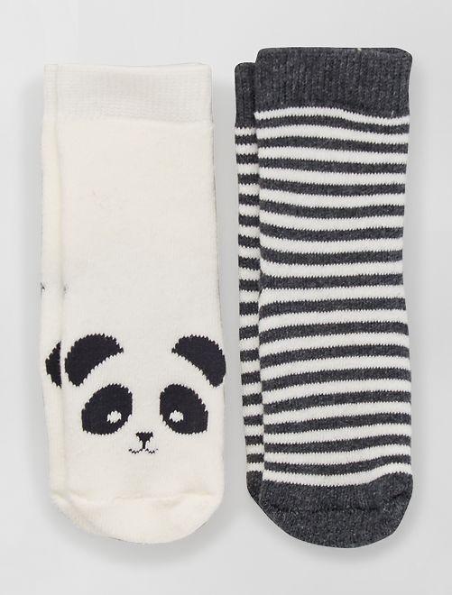 Pack de 2 pares de calcetines antideslizantes                                                                                                                             GRIS/blanco