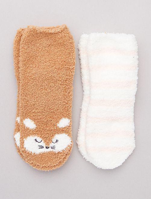 Pack de 2 pares de calcetines antideslizantes                                                                 MARRON