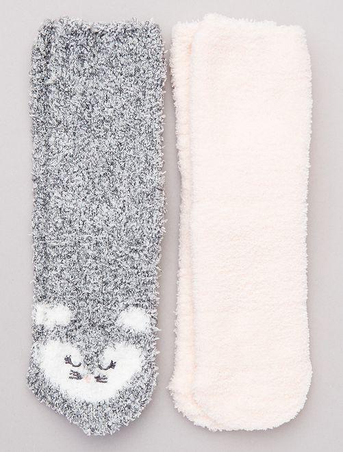 Pack de 2 pares de calcetines antideslizantes                                                                 ROSA