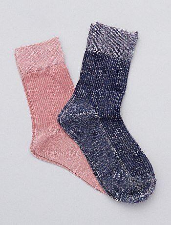 Pack de 2 pares de calcetines brillantes - Kiabi