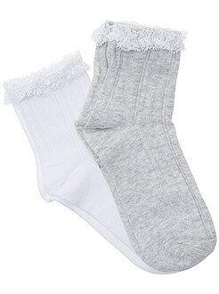 Leotardos, calcetines - Pack de 2 pares de calcetines con borde de encaje