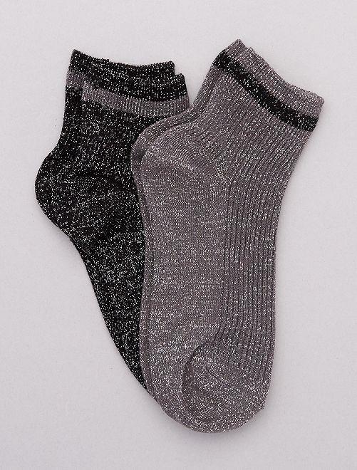Pack de 2 pares de calcetines con lúrex                                                                 gris Lencería de la s a la xxl