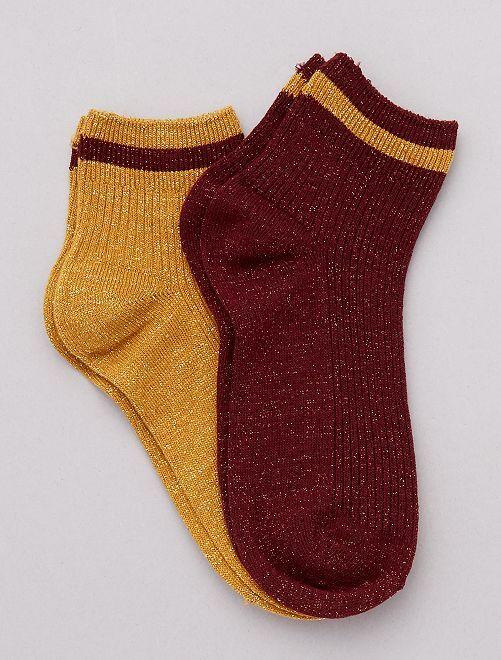 Pack de 2 pares de calcetines con lúrex                                         ROJO