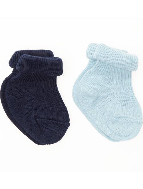 Pack de 2 pares de calcetines de algodón orgánico                             azul Bebé niña