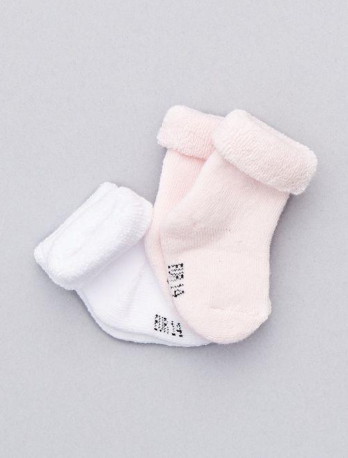 Pack de 2 pares de calcetines de algodón orgánico                                                                 blanco/rosa