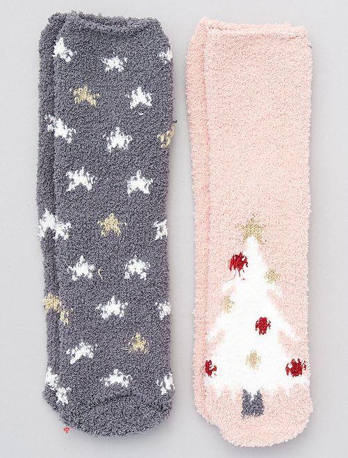 Pack de 2 pares de calcetines de Navidad                                         rosa/gris