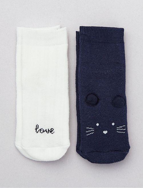 Pack de 2 pares de calcetines 'ratón'                                                                 marino/crudo