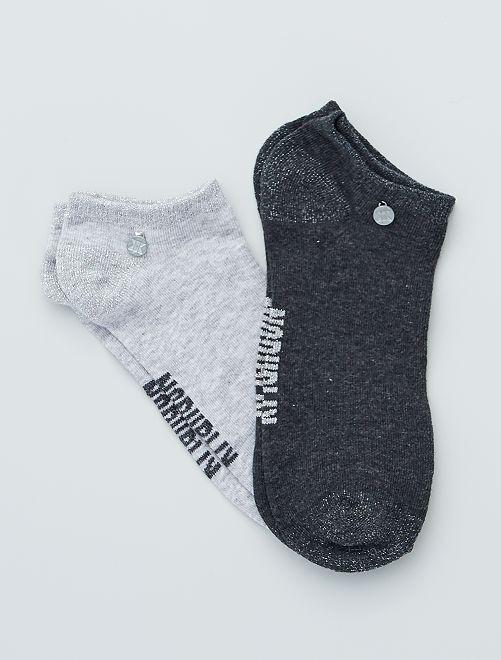 Pack de 2 pares de calcetines tobilleros 'No Publik'                             GRIS