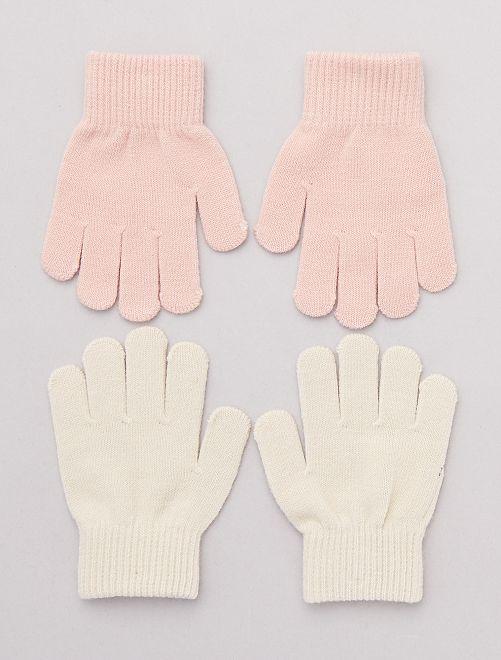 Pack de 2 pares de guantes lisos                                         BEIGE