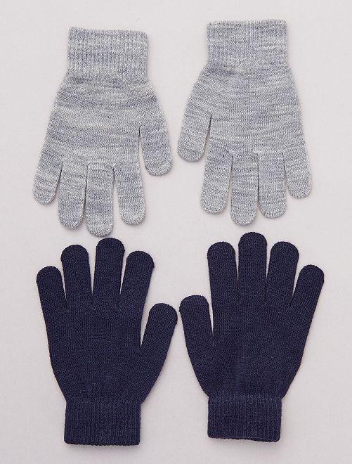Pack de 2 pares de guantes lisos                             GRIS