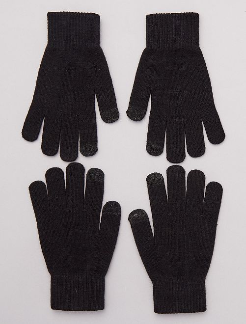 Pack de 2 pares de guantes para pantalla táctil                     NEGRO