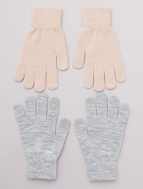 Pack de 2 pares de guantes para pantalla táctil                                                     ROSA Mujer talla 34 a 48