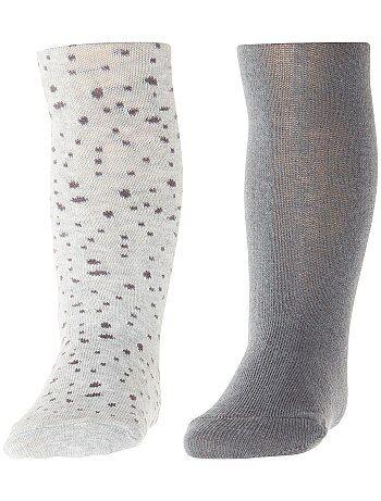 Niña 0-36 meses - Pack de 2 pares de medias lisas y estampadas - Kiabi