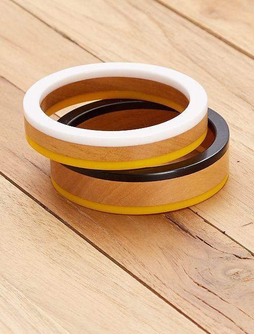 Pack de 2 pulseras redondas                                         amarillo/blanco Mujer talla 34 a 48