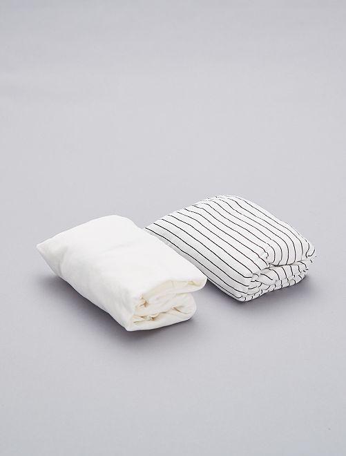 Pack de 2 sábanas bajeras de algodón orgánico                     BLANCO Bebé niña