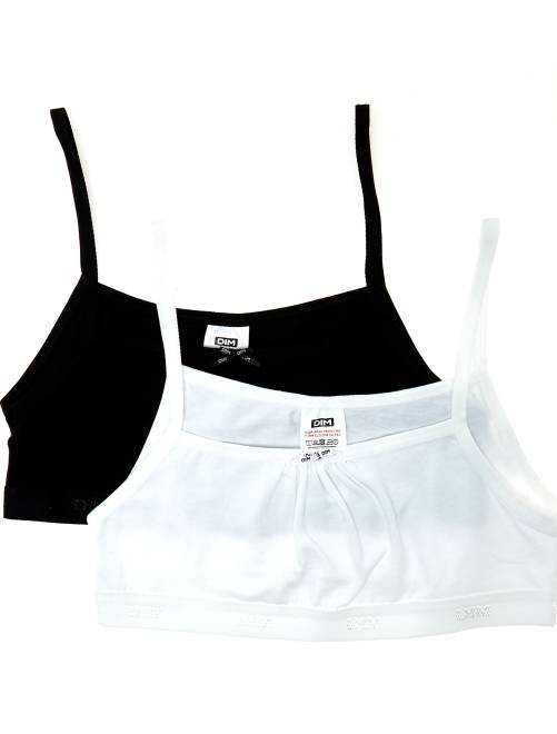 Pack de 2 tops de algodón 'Dim Girl'                             negro/blanco