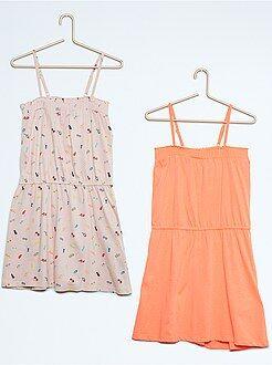 Vestidos - Pack de 2 vestidos con frunces y tirantes finos