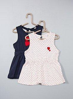Vestidos, faldas - Pack de 2 vestidos de algodón puro - Kiabi