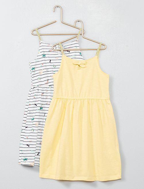 19c46dc8f Pack de 2 vestidos de tirantes de punto Chica - AMARILLO - Kiabi ...