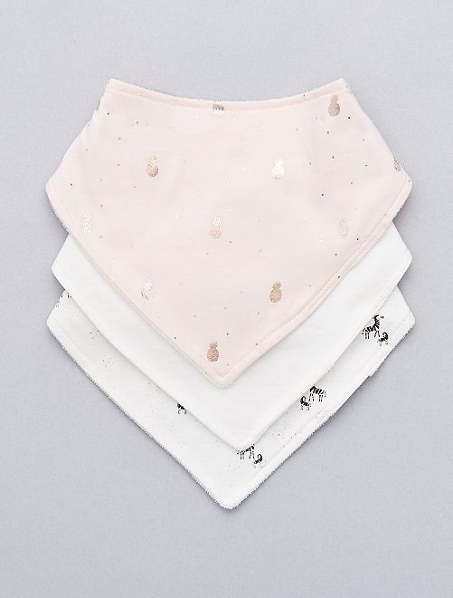 Pack de 3 baberos bandana 'piñas'                             ROSA Bebé niña