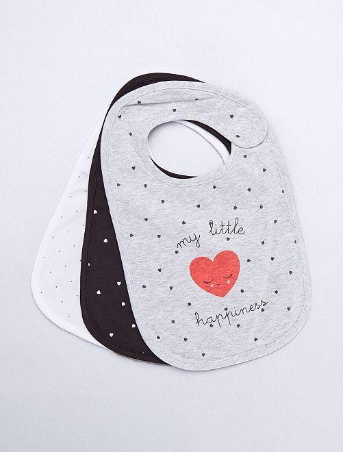 Pack de 3 baberos de algodón                                                                             GRIS Bebé niño