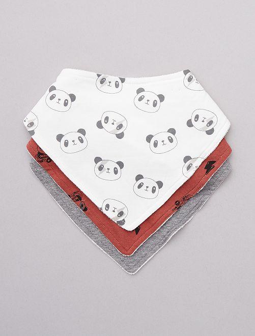 Pack de 3 baberos 'oso panda'                                         BLANCO