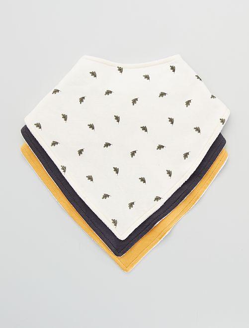 Pack de 3 baberos tipo pañuelo estampados                                         BEIGE