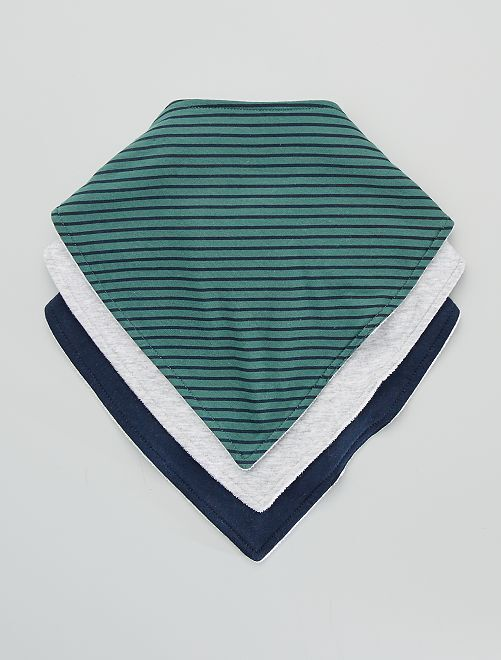 Pack de 3 baberos tipo pañuelo estampados                                         VERDE