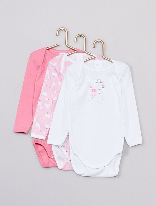 Pack de 3 bodies 'Absorba'                             rosa/blanco