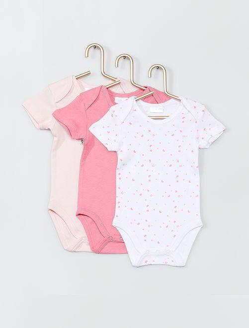 Pack de 3 bodies de algodón                             rosa/blanco