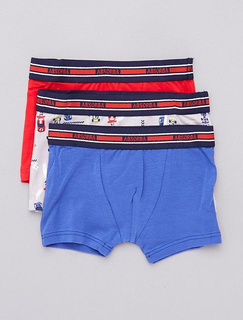 Pack de 3 boxers 'Absorba' con motivo de 'carreras'                             azul/rojo