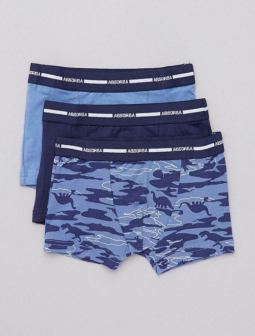 Pack de 3 boxers 'Absorba' con motivo de 'dinosaurios'                             marino/azul
